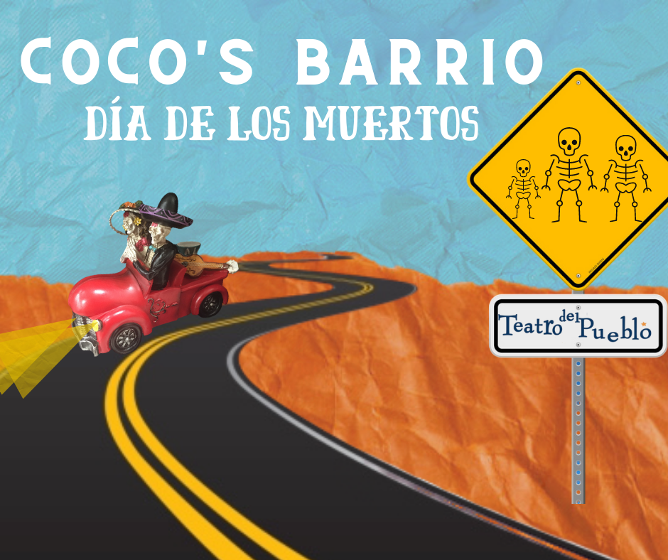 A red car with two festive skeletons are driving on a winding road through a desert.